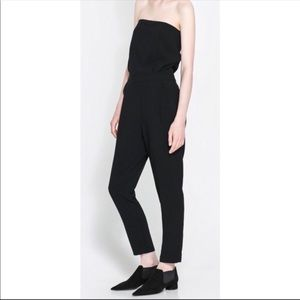 Zara Black Strapless Jumpsuit Tailored Button Back